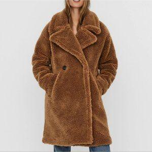 Vero Moda Lynne 3/4 Teddy Jacket Brown Size Small NWT